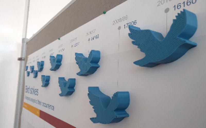 Blaue Vögel auf einer Wand
